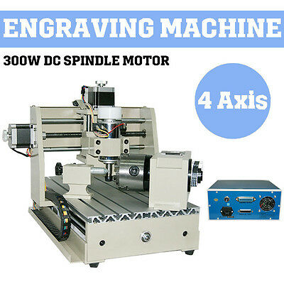 Pro 4 AXIS 300W CNC ROUTER 3020 ENGRAVER ENGRAVING MACHINE CARVING 3DCUTTER int