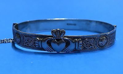 Vintage Intricate Sterling Silver Irish Claddagh Celtic Knot Bangle Bracelet
