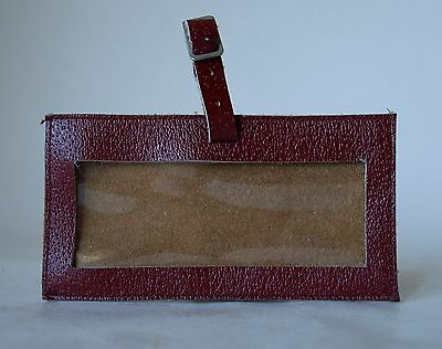 Vintage Retro 50s/60s BROWN LEATHER SUITCASE LUGGAGE TAG