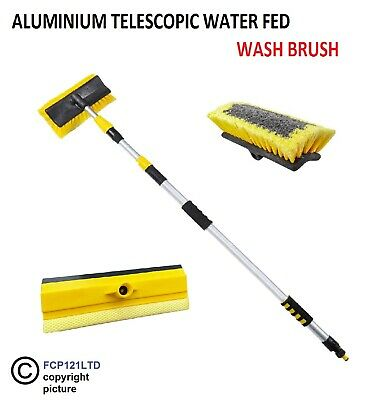 Water Fed Extendable Telescopic Pole Wash Brush & Squeegee 3m Long Reach Cleaner