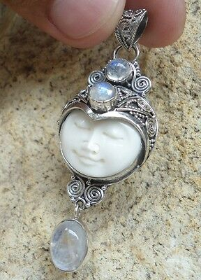 925 Solid Silver-Balinese GODDESS Pendant With Teardrop Moonstone-IL-149 NEW