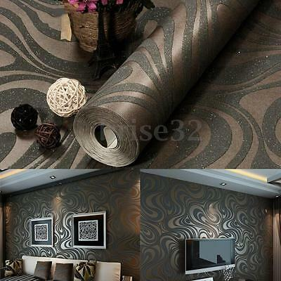 3D Embossed Luxury Abstract Curve Mural Papel De Parede Flocking Wall Roll Decor