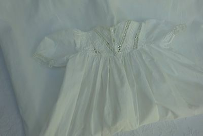 1900's Pretty Cotton Baby Dress Lace & Pin Tucks Vintage Antique Doll 6-9 Months