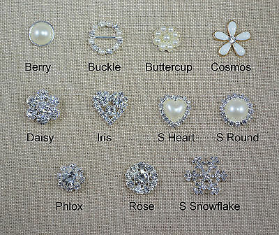 10 Pack of Small Pearl and Diamante Embellishments