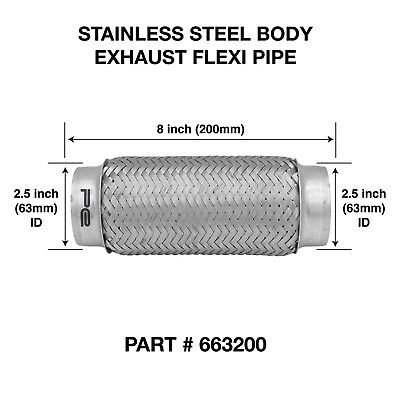 """Weld On 2.5"""" X 8"""" inch Exhaust Flexible Joint Repair Flexi Pipe tube Flex"""