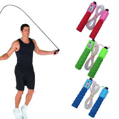 Adjustable Skipping Jump Rope Digital Counter Foam Jumping Excercise Fitness