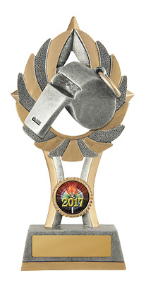 Aussie Rules AFL Football Footy Whistle Umpire Trophy Award 175mm FREE Engraving