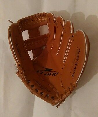 Baseball Crane Left Glove Mitt Synthetic Leather Tan Brown