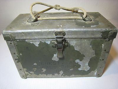 VINTAGE Army Ammo Metal Can 50 Cal  Tool Box Case Chest Military WWII