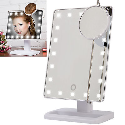 10X Magnifying Touch Screen 22 LED Light Vanity Make-up Cosmetic Tabletop Mirror