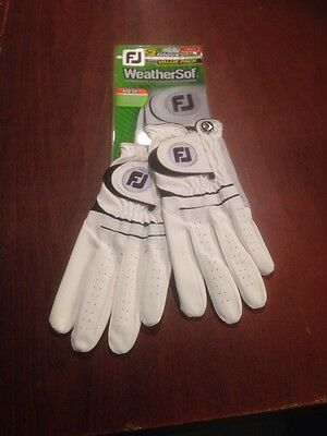 2 Footjoy Weathersof All Weather Gloves. White/black Trim. Size Medium.