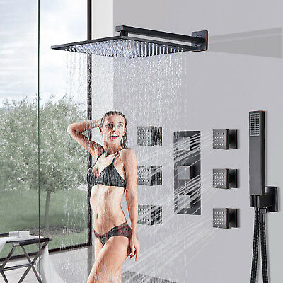 POIQIHY Brushed Nickel Shower Panel Tower LED Rain Waterfall Massage System Jet