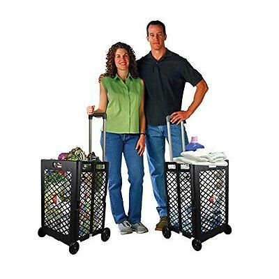 Folding Shopping Cart w Wheels for Grocery Laundry Travel Utility Basket Trolley