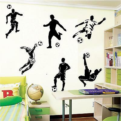 6 Football Footballers Wall Art Boys Bedroom Wall Stickers