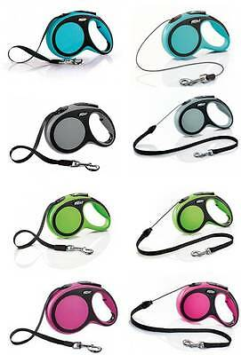 Flexi Comfort Retractable Dog Puppy Lead Leash Tape or Cord 5 Colours 7 Sizes