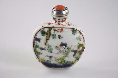 CHINESE ANTIQUE 19thc. PORCELAIN HAND PAINTED SNUFF BOTTLE w/ CORAL SILVER LID