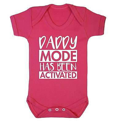 Daddy mode activated baby vest dad daddy gift son daughter love 3685
