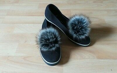 "Pair of Shoe Clips Racoon Faux Fur Pom Pom shoe clips 4"" 10cm"