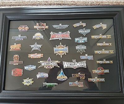 Wrestlemania 33 WM WWE Plaque pin set. Rare (no belt championship) WCW TNA WWF