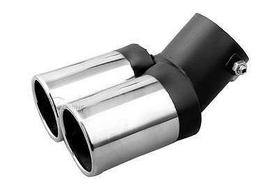 <TWIN Chrome Exhaust Tail Pipe Suits LAND ROVER (30mm-59mm) Stainless Steel M17