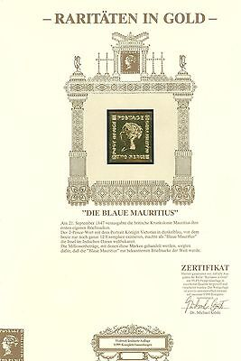 Gold A25 Stamp Mauritius 1v Certificate
