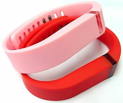 Large 1 Red 1 Light Baby Candy Pink Bands Clasps For Fitbit Flex /No Tracker