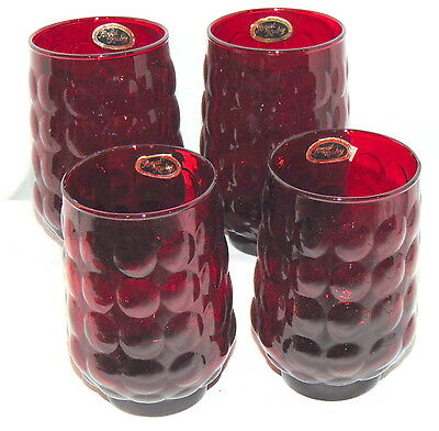 "4 Anchor Hocking BUBBLE RUBY RED *4 1/2"" WATER TUMBLERS* w/STICKERS*"