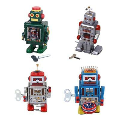 4 Retro Wind Up Mechanical Robot Clockwork Tin Toy for Kid Adult Collection