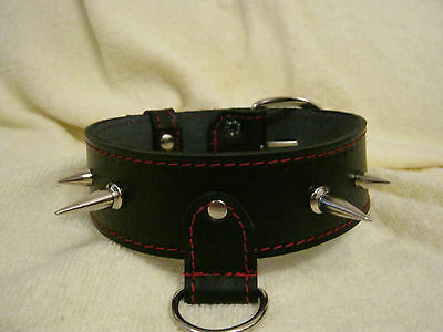 New Black & Red Quality Real Leather Fetish/Bondage/Gothic Spiked Collar