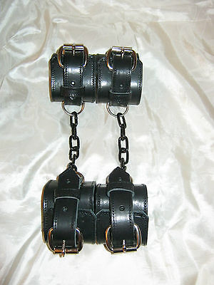 New Fetish/Bondage Real Leather & Black Chain Wrist to Ankle Restraints Set