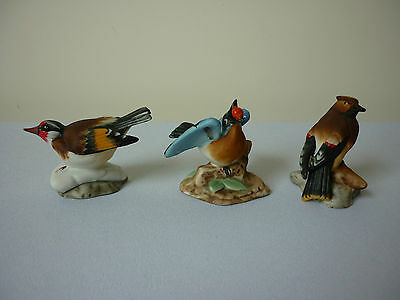 Miniature porcelain wild birds including a goldfinch - set 3 of 4