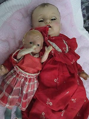 "Lot~ 20"" P300 Ideal Composition Doll & 9 1/2 in. Composition doll w/extras~USED"
