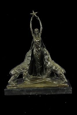 Art Deco Mythical Queen with Polar Bear Bronze Sculpture Statue Marble Figurine
