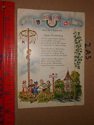 SWASTIKA GOOD LUCK NAZI 1836-1936 Dorzbach kids play dance park art signed