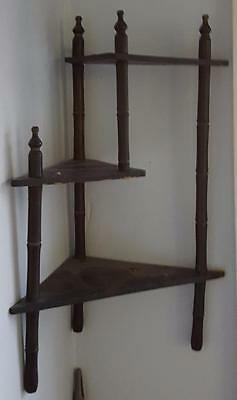Antique Bamboo Corner Wall Curio Shelf - Painted Detail Design - OLD & DELICATE