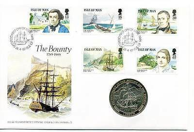 Coin Cover 1989 The Bounty Isle of Man Crown