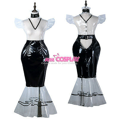 clear PVC lockable vinyl dress Fish Tail Unisex  tailor-made[G2247]