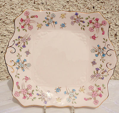 Tuscan Pink CAKE PLATE  English vintage fine bone china high tea party pretty