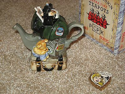 signed Cardew teapot+ceramic pin Travellers Return ltd ed. Collectibles Expo.'96
