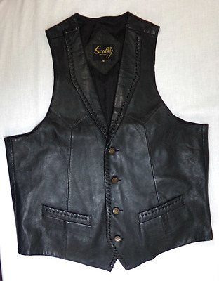 Men's Vintage Scully Leather Vest Black Biker Cowboy Western Lined NICE Sz M