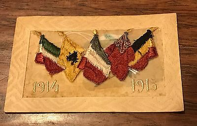 Old Antique Postcard Silk WW1 Embroidery
