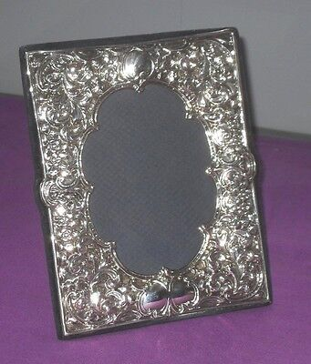 A Large Very Stylish Embossed Sterling Silver Easel Photo Picture Frame Antique
