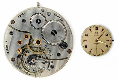 CYMA 586K vintage  original watch movement for parts / repair  (5278)