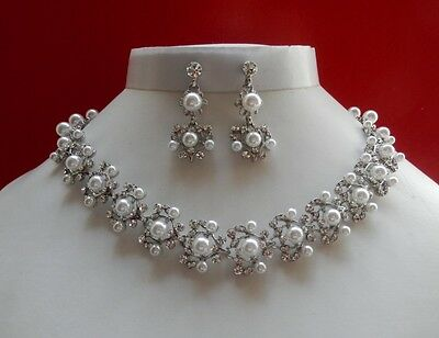 Bridal Necklace/Earrings Set White Pearl & Crystals, Wedding Set N3701