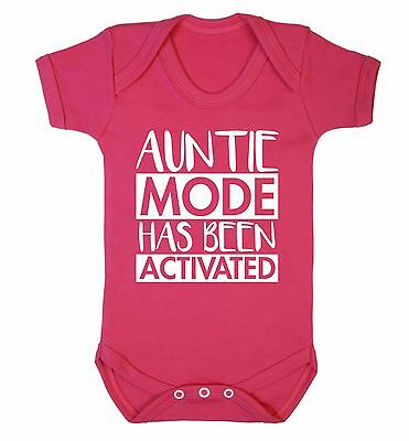 Auntie mode activated baby vest niece nephew cute funny gift baby shower 3683
