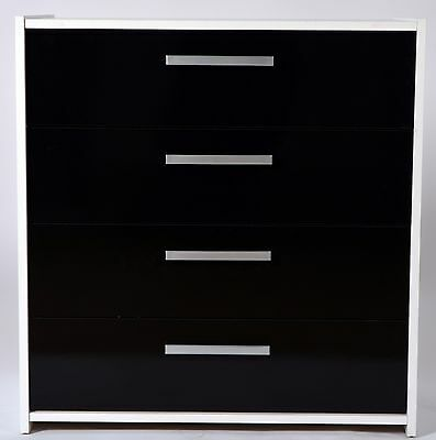 Shelby 4 Drawer Chest White With Black Gloss Drawer Fronts