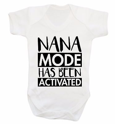 nana mode activated baby vest grandson grand daughter Gran cute funny gift 3680