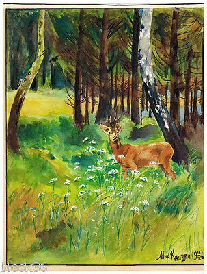 1943 DEER IN THE FOREST drawing by Russian artist Mikhail Kalugin