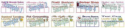 Loyalty Cards 50 Mobile Hairdresser Barber Cafe Taxi Nails Tanning Beauty Salons