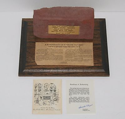 RARE Gone With The Wind Commemorative Brick w/ Plaque Auth Papers Loew's Theater